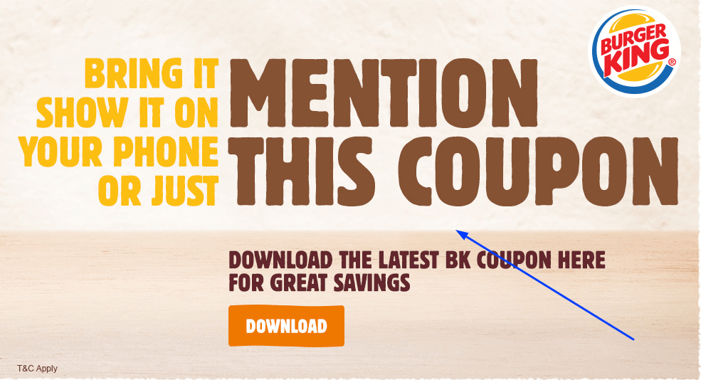 Offer and Coupon Burger King