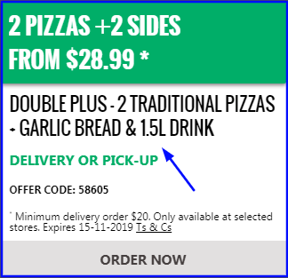 Offers and coupon for Domino's 2