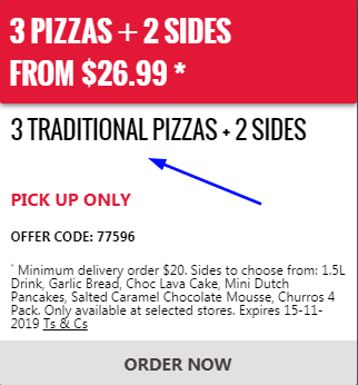 Offers and coupon for Domino's 4